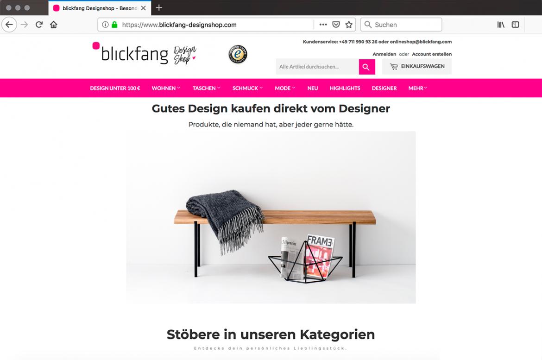 Screenshot vom Blickfang Onlineshop mit einer Sitzbank Eiche 01 von weld & co